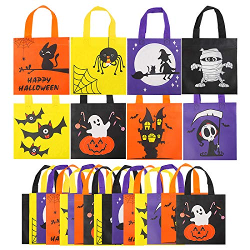 CCINEE 24pcs Halloween Non-Woven Treat Bags 8 Cute Halloween Pattern Totes Party Bags with Handles for Kids' Halloween Trick or Treat Party Favor Supply