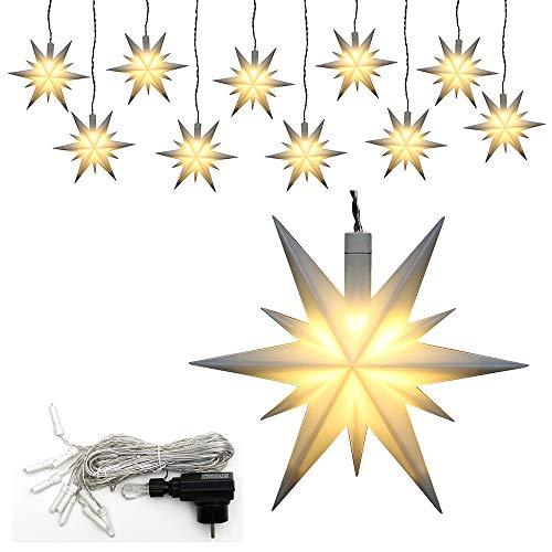 Dekohelden24 10er Set Weihnachtssterne aus Kunststoff in weiß, inkl. LED Beleuchtung und Adapter, für Innen und Außen geeignet. Maße je Stern L/B/H: 13,5 x 5,5 x 12 cm.