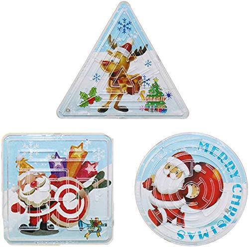 kungfu  15 Piezas Laberinto de Navidad Rompecabezas Papá Noel Árbol de Navidad Laberinto Mini Rompecabezas Triángulo Círculo Cuadrado