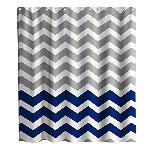 Chevron Shower Curtain Nautical Theme Zig Zag Pattern