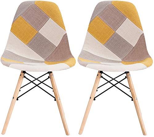 LOVEMYHOUSE Sillas de Comedor de Patchwork Juego de 2 sillas Amarillas de Ocio con Asiento Suave y Patas de Haya de Respaldo para el hogar la Cocina la Oficina (Amarillo)