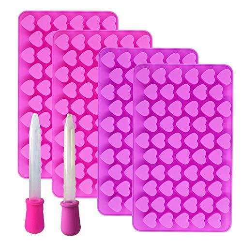 BluVast Silikonform Herz Klein, Backform Herz, 4er Set Bonbon Form Herz Silikonform Kleine Backform Silikon, mit 2 Pipetten, für Süßigkeiten, Schokolade, Gelee, Eiswürfel