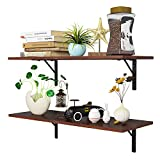 Homfa Floating Shelves Wall-Mounted Display Storage Ledge with Bracket for Bathroom, Kitchen, Living Room, Bedroom, Large 31.5X 11.6X 7.3in (Espresso)