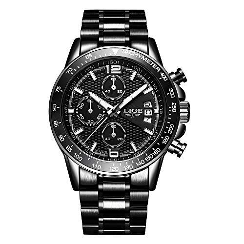 Relojes Hombres Marca LIGE Moda Casual Reloj de Cuarzo analógico Hombre Acero Inoxidable...