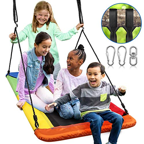 Odoland 60inch Giant Platform Tree Swing for Kids and Adult - Waterproof Fabric Large Flying Outdoor Indoor Saucer Hammock - Platform Surf Swing Sets for Backyard, Playground, Playroom