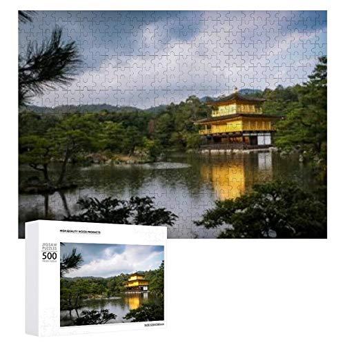 Kinkakuji Temple The Golden Pavilion 500 piezas de rompecabezas de madera para adultos y adolescentes Actividad familiar divertida con familiares y amigos Juegos de rompecabezas de decoración Juegos