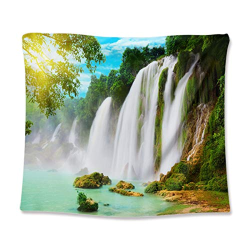 Buyall Scenery Tapestry for Bedroom, Dorm Wall Hanging Tapestry, Home Decoration for Living Room,Waterfalls, Rivers, Lakes, Mountains, Trees, And Bridges,A1,73 * 100cm