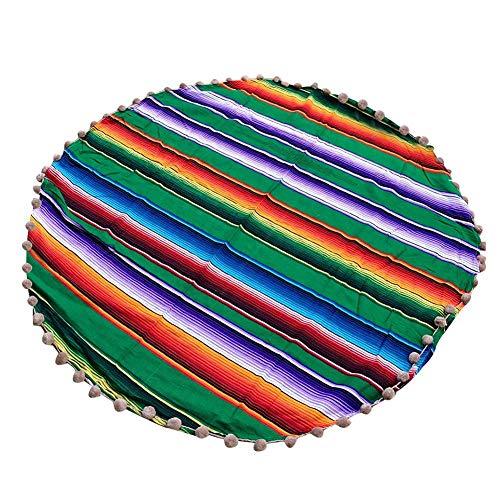 Mexicaanse stijl strandkleed, Mexicaanse tafelloper van katoen, zachte multifunctionele deken katoen strepen sjaal carnaval handgemaakte regenboogdeken, home gobelin strand picknick mat