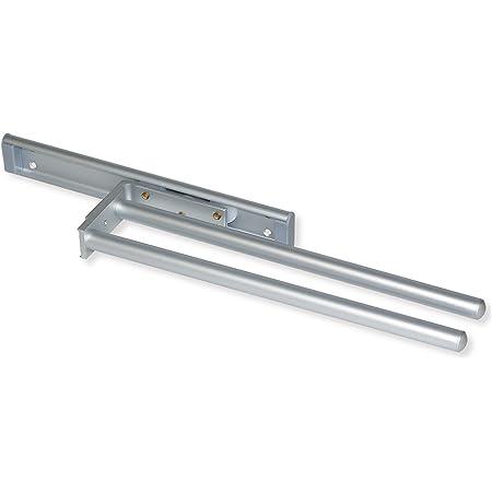 Emuca - Porte-Serviettes Extensible avec 2 Bras, Support pour Drap de Salle de Bain ou torchons de Cuisine en alluminium anodisé Mat, Longueur 440mm