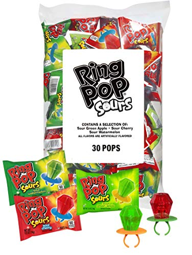 Ring Pop Sours Individually Wrapped Bulk Lollipop Variety Party Pack – 30 Count Lollipop Suckers w/ Assorted Flavors - Fun Candy for Birthdays and Celebrations