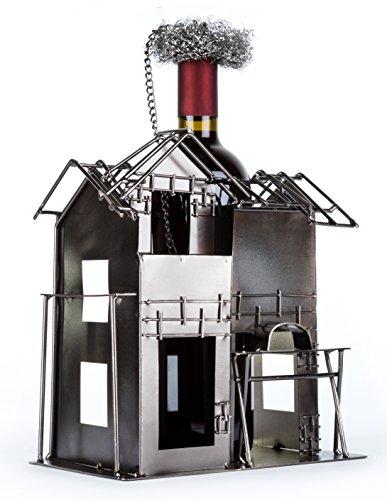 Flaschenhalter aus Metall als Geschenkidee für Bauherren oder für Geschenke zum Richtfest Geschenkideen oder als Hausbau Geschenk für Häuslebauer und Handwerker Haus Richtfestgeschenk Mitbringsel