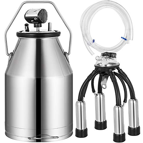 VEVOR Stainless Steel Milker Bucket 25L Milking Machine Barrel Tank Portable Electric Milking Machine for Dairy Farms and Milk Product Plants