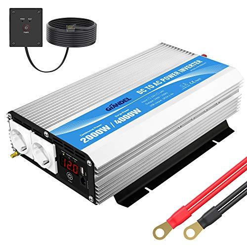 2000W Modifizierter Welle Wechselrichter 12v auf 230v Spannungswandler Umwandler-Inverter Konverter mit Fernbedienung und LED-Anzeige 2 AC Steckdosen & USB für Wohnmobil GIANDEL