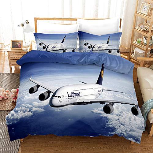 CURTAINSCSR Bettwäsche Bettbezug Flugzeug Bedrucktes Polyester Bettwäsche Set 135x200 cm Blau Bettbezug mit Reißverschluss + 2 Kissenbezug, für Jungen & Mädchen Bettwaren-Sets