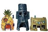 SLOCME Aquarium-Dekoration Ananas-Haus – Spongebob-Haus, Squidward Hidout und Krusty Krab Dekoration – 3 Stück