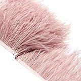 Ultnice - Passamaneria con finta piuma su nastro di raso per finitura di vestiti, costumi e lavori di cucito fai da te, rosa, 2m