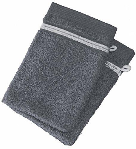 Lot de 2 Gants de Toilette 100% Coton - 550 grS/m2 Gris avec Liserets Blanc