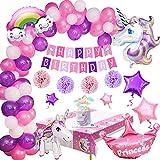 Unicornio Fiesta de Cumpleaños, Decoración Fiesta de Cumpleaños Niña, Unicornio Globos Pancarta de Feliz Cumpleaños Cake Toppers Rosa y Púrpura Globos Decoración Cumpleaños para Niños Niñas