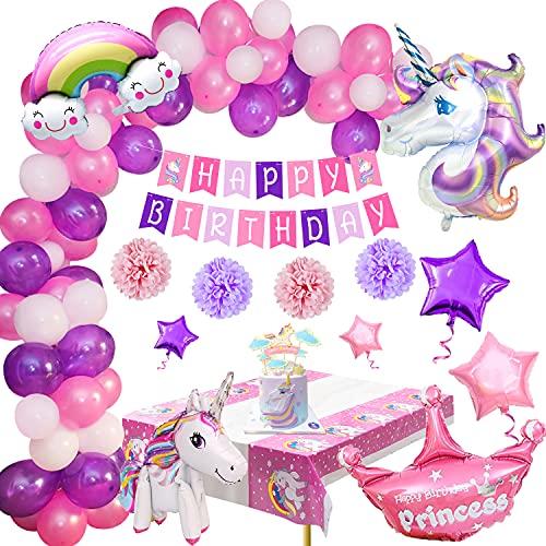 Decorazioni per Feste Unicorno, Palloncini Compleanno Ragazza Unicorno Palloncino Striscione di Buon Compleanno Cake Topper Tovaglia Decorazioni Compleanno per Donna Ragazza Compleanno Festa