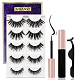 Magnetic Eyelashes and Eyeliner Kit,Upgraded 3D Reusable False Eyelashes Natural Look with Applicator, No Glue Needed,5 Pairs