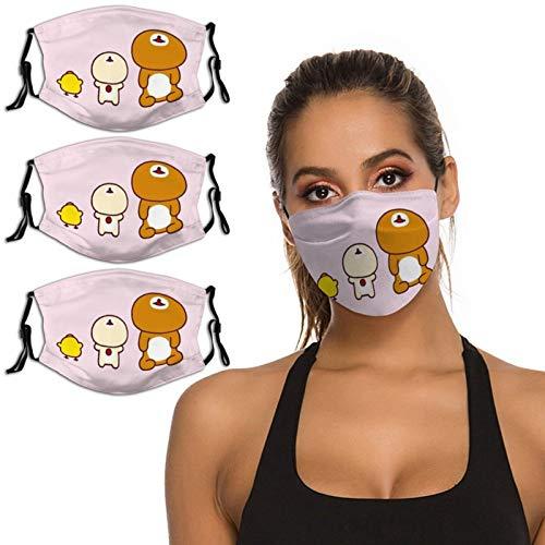 Nuberyl Brown Bear Rila-kuma - Pasamontañas unisex con diseño de pollo amarillo (14), transpirable, reutilizable, protección UV, paquete de 3 polainas para el cuello