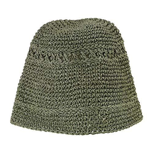 GUMEI Mujer Verano Crochet Paja Sombrero de Cubo Protección...