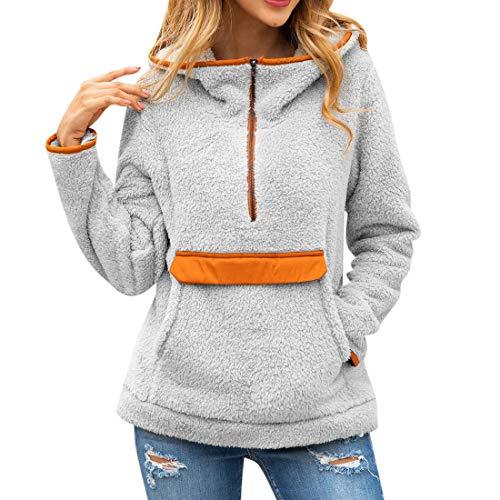 Women Hoodie Winter Warmth Cozy Plus Velvet Fashion Long Sleeved Zipper Kangaroo Pocket Elegant Chic Classic Autumn Women Jacket Women Top Gray_ M