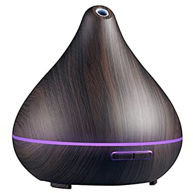 Homasy 400ml Wood Grain Essential Oil Diffuser, Ultrasonic Aroma Cool Mist Diffuser, 7-Color 15 Night Modes, Waterless Auto-Off for Office Room