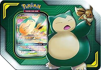 Pokemon Tag Team Tin Snorlax-GX & Eevee- TCG  Sun & Moon Box- 4 Booster Packs | 1 Special Eevee & Snorlax-GX Foil Card | Genuine Cards