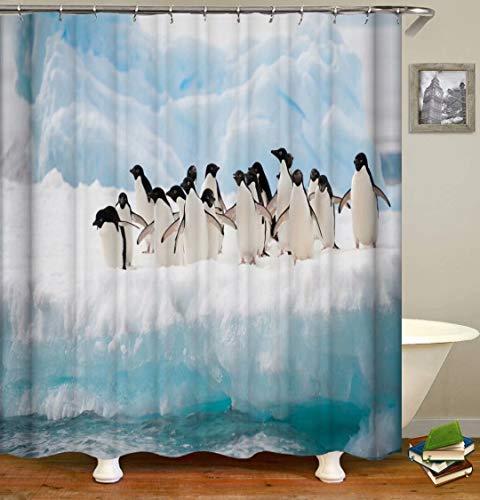 ZZZdz Pinguine Auf Eiswürfeln. Duschvorhang: 180 X 180 cm. Wasserdichter Stoffteppich Für Duschvorhang. Bad Duschvorhang Set Polyesterfaser Bad Duschvorhang.