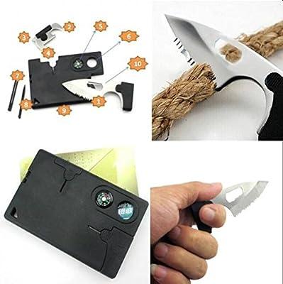 9 in 1 Pocket Card Tool Knife Compass Awl Tweezer Key-chain Survival Card Multi Tool by Amazona's presentz