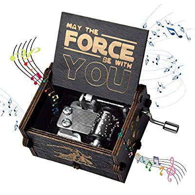 fezlens Wood Music Boxes Star Wars Antique Engraved Wooden Musical Box Gifts for Birthday/Christmas/Valentine's Day/Thanksgiving Days Hand-Operated Present Kid Toys ?Black?