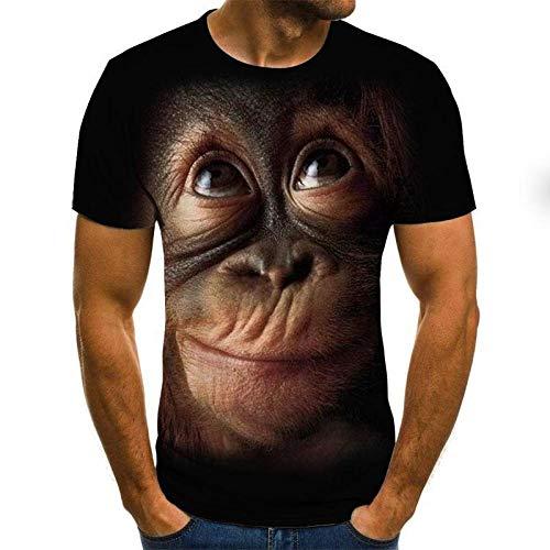 YPDWYJL Camiseta de Cuello Redondo de Verano de Mono Divertido de Manga Corta 3D Camiseta de Secado rápido de Calle Informal de Moda