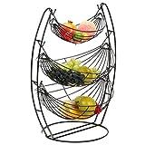 LXXTI Frutero De 3 Pisos, Cesta Fruta Metal, Fruteros De Cocina Negro, para Fruta Y Aperitivos Frutas, Verduras, Aperitivos, Objetos del Hogar Y Mucho Más