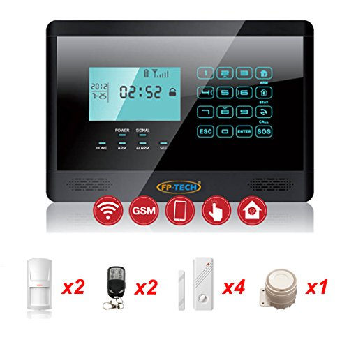 ANTIFURTO ALLARME TOUCH SCREEN CASA KIT COMBINATORE GSM WIRELESS SENZA FILI APP (Kit M - FP-2E-1000-NERO)