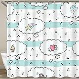 KGSPK Duschvorhang,Wolkenmuster-Meteor-Diamant-Kuchen,Wasserfeste Bad Vorhang aus Polyestergewebe mit 12 Haken Duschvorhang 180x180cm