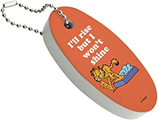 Graphics and More Garfield I'll Rise but I Won't Shine Floating Keychain Oval Foam Fishing Boat Buoy Key Float