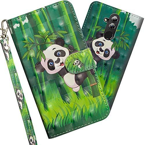 COTDINFOR pour Huawei Mate 20 Lite Custodia Cover TPU 3D Effect Painted PU in Pelle con Wallet Card Holder Magnetico Ultrasottile Flip Custodia per Huawei Mate 20 Lite Climbing Bamboo Panda YX
