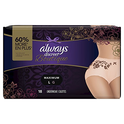 Always Discreet Boutique, Incontinence & Postpartum Underwear for Women, Maximum Protection, Peach, Large, 18 Count