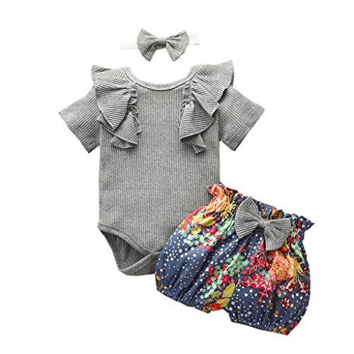 XinGxMei 0-24M Bébé à Manches Courtes à Manches Volantes Pit Stripe Solid Color Romper Top + Floral Polka Dot Shorts Set