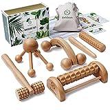 HELDSON® Premium Massage Set Holz [6er Set] inkl. deutscher Anleitung und doppelseitigen Karten mit Baumwollbeutel – Massageroller Triggerpunkt Massagegerät Fußmassageroller