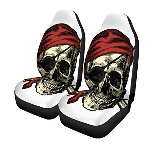 XZfly autostoelhoezen Aggressor Pirate Skull and Crossbones Bandana oorbellen op een set van 2 autobeschermers