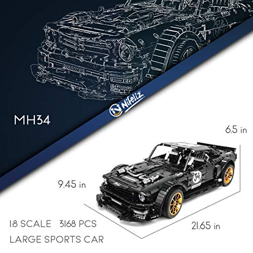 Adult Collectible Model Cars Set to Build Nifeliz Racing Car GTRR MOC Building Blocks and Engineering Toy 1:8 Scale Race Car Model 3408 Pcs