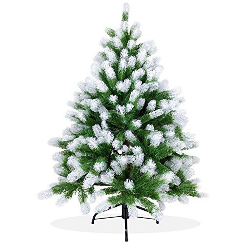 Künstlicher Weihnachtsbaum 120cm in Premium Spritzguss Qualität, angeschneite Douglastanne, Tannenbaum mit PE Kunststoff Nadeln, Douglasie Christbaum im beschneit Design