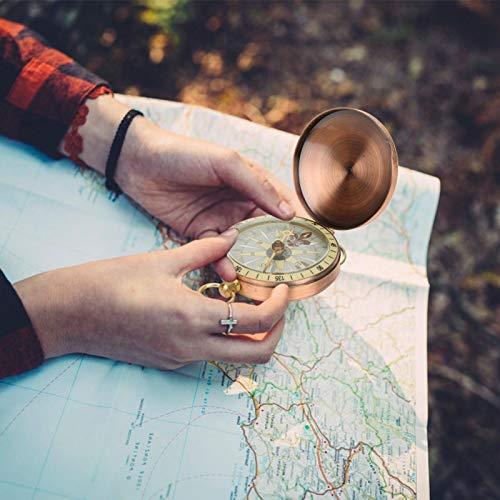 Robusto Durable Vintage Retro Metal Cobre Cubierta abatible Reloj de bolsillo Brújula Portátil Buena estabilidad Ligero para actividades al aire libre, paseos en bote(compass)