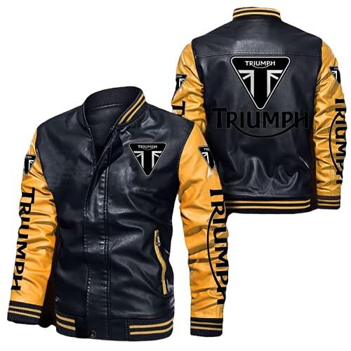 BOLGRTYXC Imitación cuero del bombardero chaqueta rompevientos Triu-mph Racing tapa de la chaqueta de la locomotora de moda chaqueta de cuero de los hombres de Ropa/B/XXL