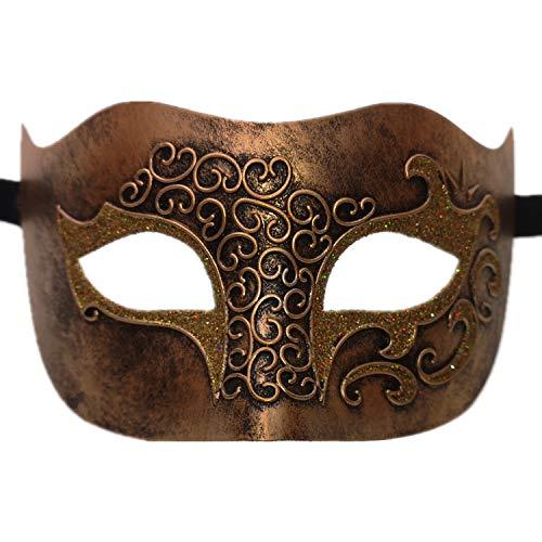 Ubauta Maskerade Maske für venezianische männer kostüm Maske / Party / Ball Prom / Halloween / Karneval / Hochzeit (Gold Relief Gesicht)