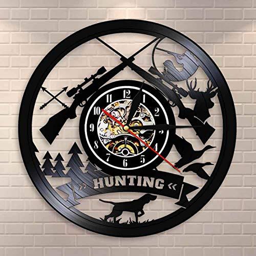 YINU Caza Logo Rifle Pistola Signo Reloj de Pared Animal Caza Aventura Vinilo Registro Reloj de Pared Desierto Tribal decoración de Pared Regalo de Cazador