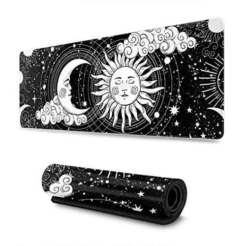 Magic Crescent Moon and Sun Large Gaming Mouse Pad, Long Extended XL Mousepad Desk Pad, Large Anti Slip Rubber Mice Pads Stitched Edges, 11.8 X 31.5 Inch