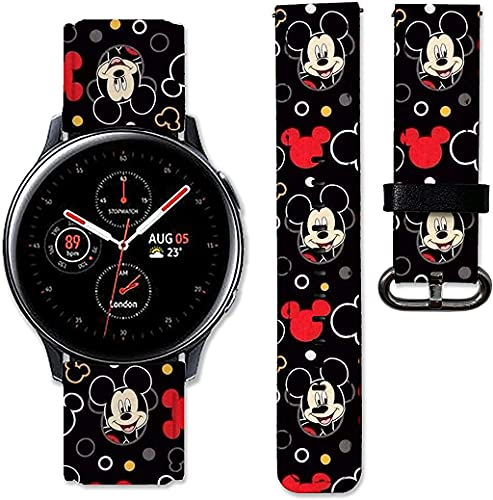BGBA Cartoon Mouse band compatible with Samsung Galaxy Watch 3 Active 2 40mm 41mm 42mm 45mm 46mm Gear S3 S2 and other watches 20and 22mm wristband straps leather bands 02 (22mm) Multicolor